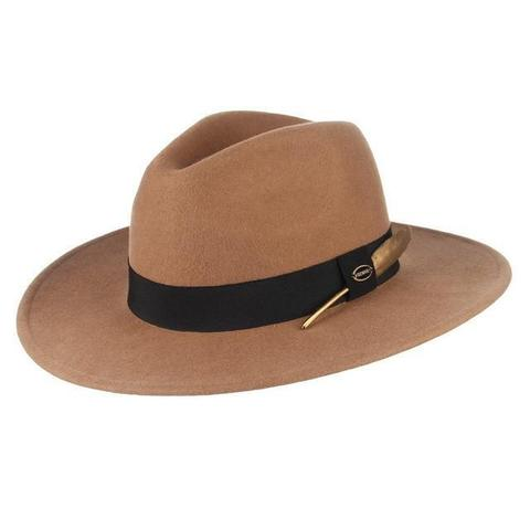 Brass-Tone Feather Wool Fedora Hat (3 Available Colors)