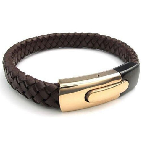 Classic Gold Brown Stainless Steel Clasp Leather Cuff Bracelet