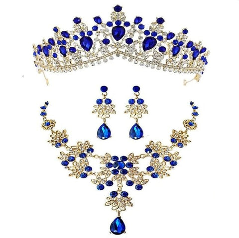 Blue and White CZ Gold Stainless Wedding Jewelry Set