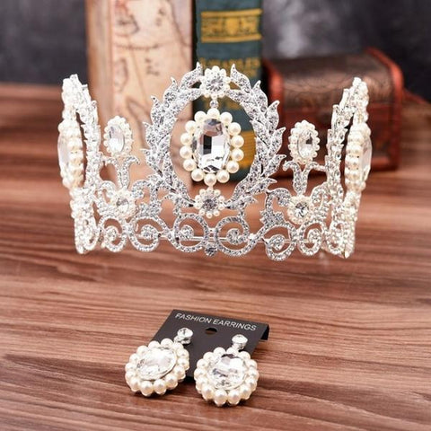 Royal Queen's Crown and Earring Set