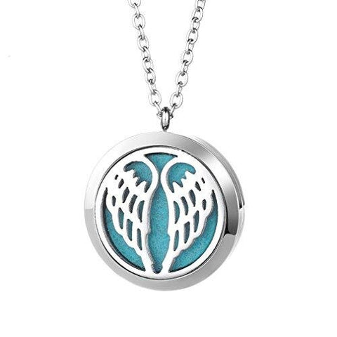Stainless Steel Angel Wings Locket Pendant Aromatherapy Essential Oil Diffuser Necklace