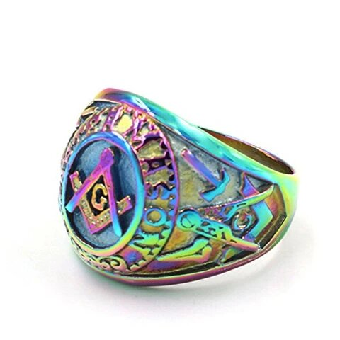 Men's Stainless Steel Multicolor Masonic Ring