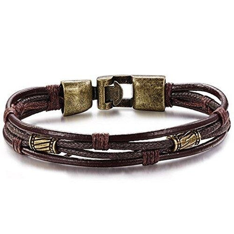 Vintage Multi-strand Rope Leather Cuff Gold Bracelet