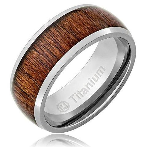 Men's Wood Inlay Dome Titanium Wedding Band