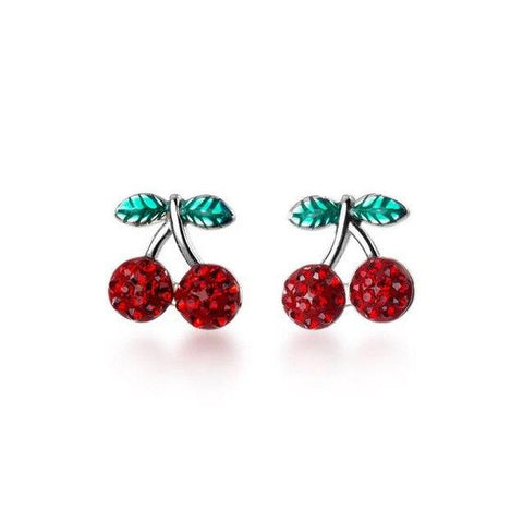 Crystal Pave Red Cherry Enamel Sterling Silver Stud Earrings