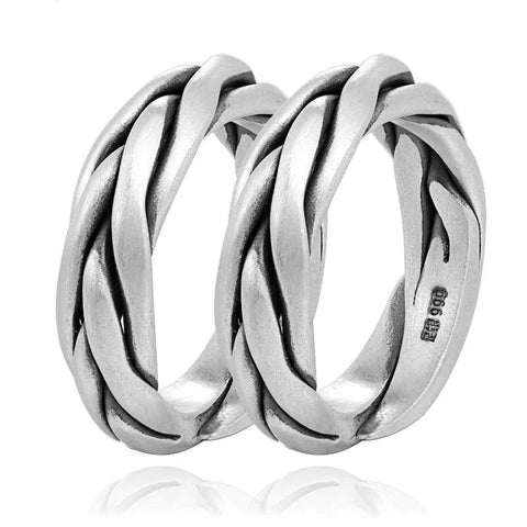 Vintage 999 Silver Braided Ring