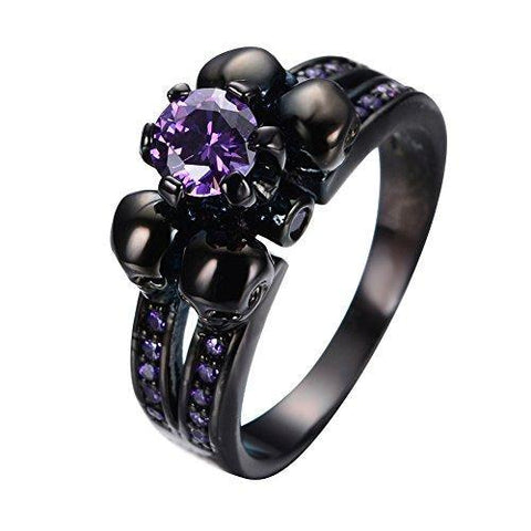 Six Pronged Purple Rhinestone Black Skull Ring
