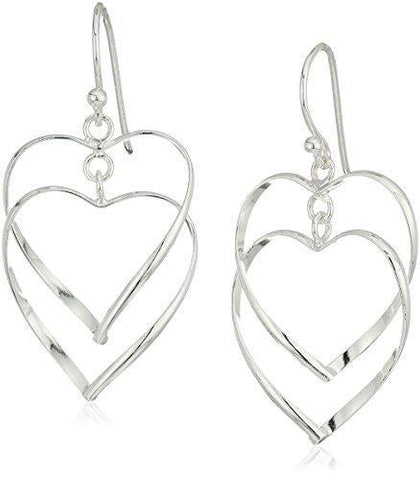 Sterling Silver Double Heart Hook Earring