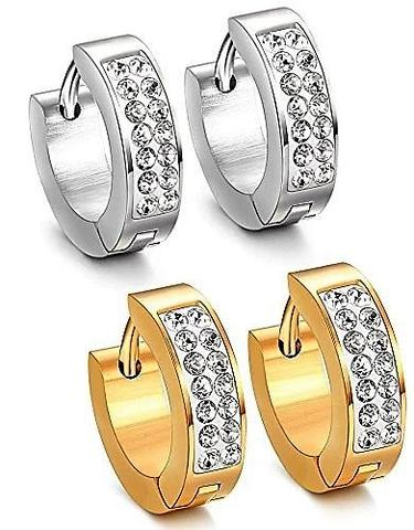 Gold & Silver Stainless Steel CZ Paved Hypoallergenic Hoop Earrings Set
