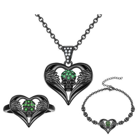 3PC Skull Heart Crystal Black Stainless Jewelry Set