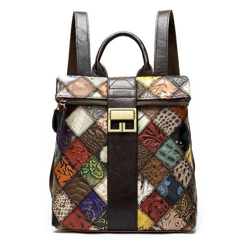 Colorful Patchwork Design Leather Backpack for Women