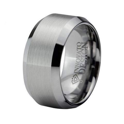 10mm Silver Tone Brushed Tungsten Carbide Ring