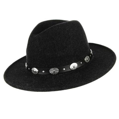 Polyester Oval Silver Stud Leather Hatband Fedora (7 Available Colors)