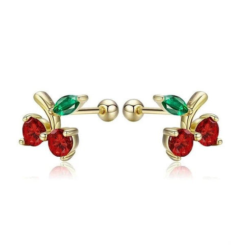 Gold Plated Sterling Silver Red and Green Cherry Stud Earrings