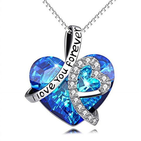 2.Silver-Tone Double Heart Blue & White Crystal Pendant Necklace