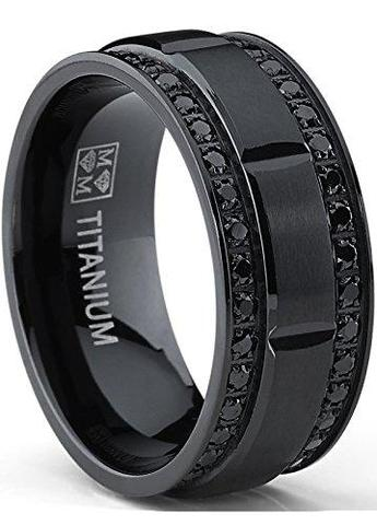 Men's Black round Cubic Zirconia Black Titanium Wedding Ring