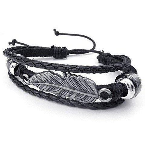 Unisex Adjustable Feather Bangle Black Silver Leather Bracelet