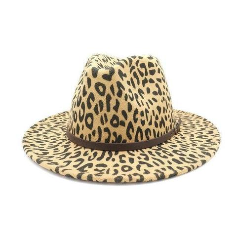 Leopard Print Brown Leather Hatband Fedora (5 Available Colors)