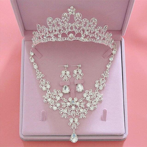 Silver Wire Crown Zirconia Crystal Stainless Jewelry Set