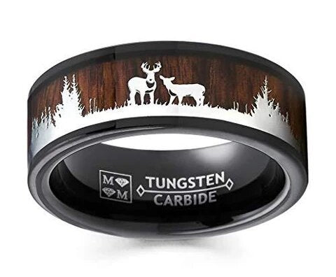 Black Tungsten Wood Inlay and Silhouette Deer Stag Ring
