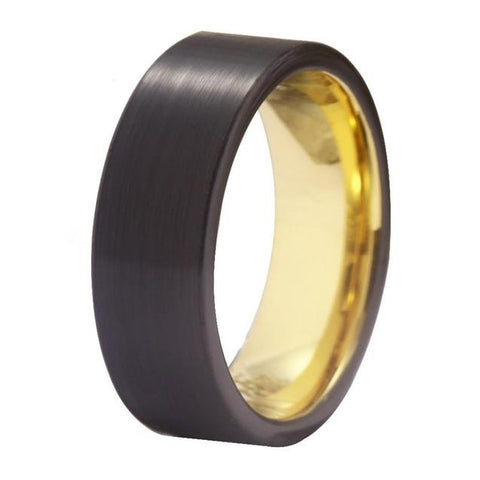 Brushed Black & Gold Tungsten Carbide Wedding Band