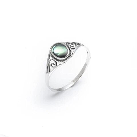 925 Sterling Silver with Abalone Shell Women's Ring