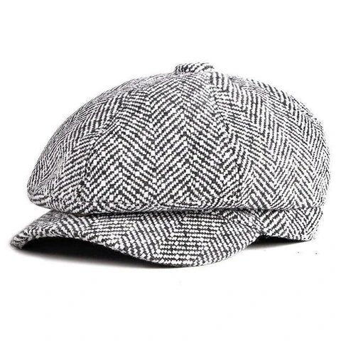 Herringbone Cotton Tweed Eight Panel Cap