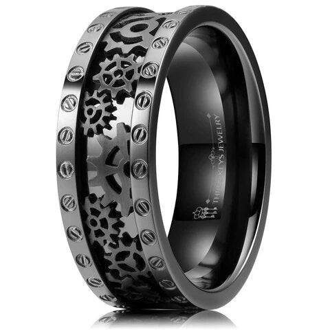 Black Titanium Ring Steampunk Gear Wheel Bolts Wedding Band for Men