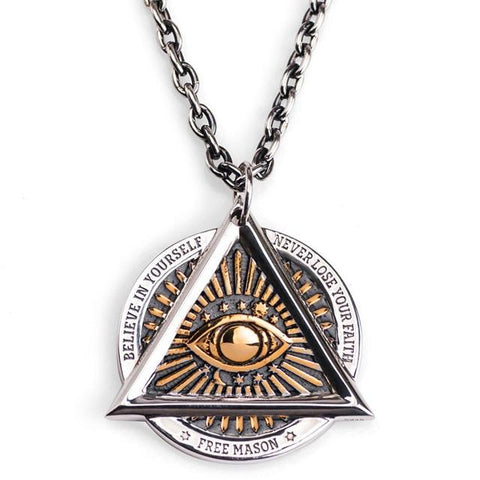 All Seeing Eye Silver and Bronze Stainless Steel Necklace