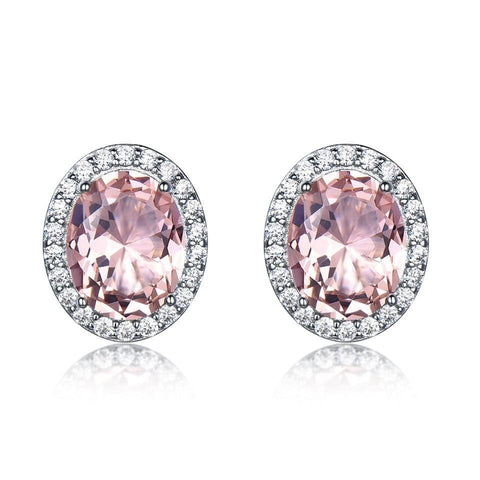 Halo Pink White Zirconia Stud Sterling Silver Earrings