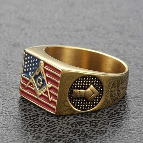 Stainless Steel 18K Gold Plated American Flag Masonic Ring