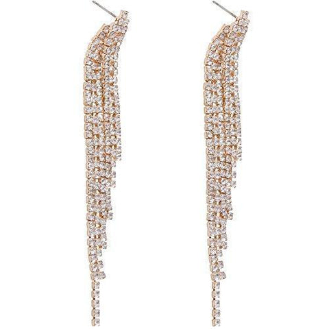Cascading Sterling Silver Crystal Frill Earrings