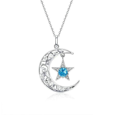 Blue Crystal Star Crescent Moon Sterling Silver Necklace
