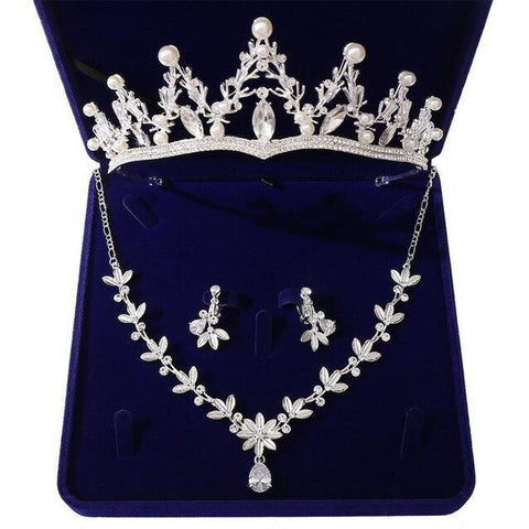 Pearl Tip Marquise Zirconia Floral Drop Tiara Stainless Jewelry Set