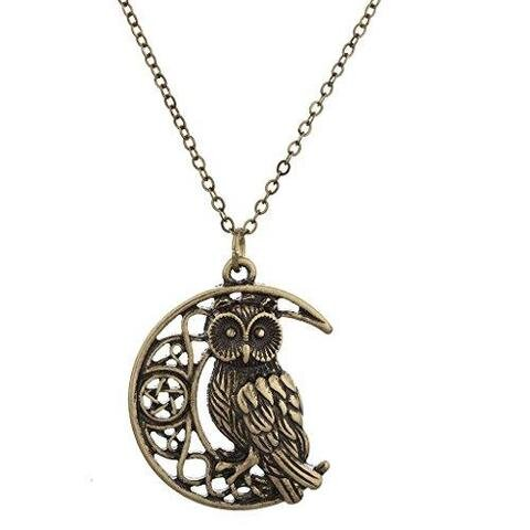 Amber Gold Cast Owl Crescent Moon Charm Necklace