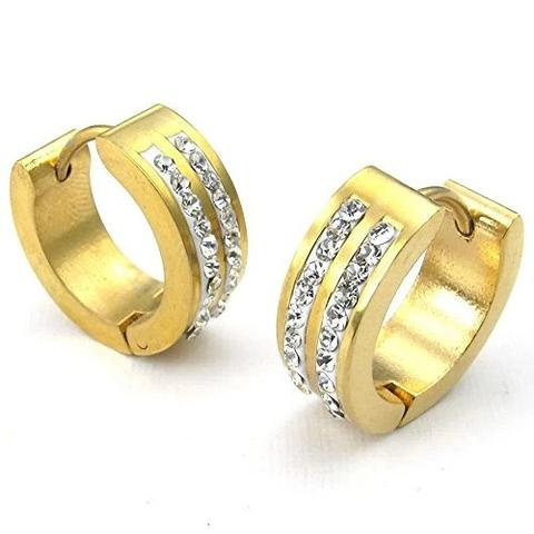 Double Row CZ Gold-Plated Stainless Steel Hypoallergenic Hoop Earrings