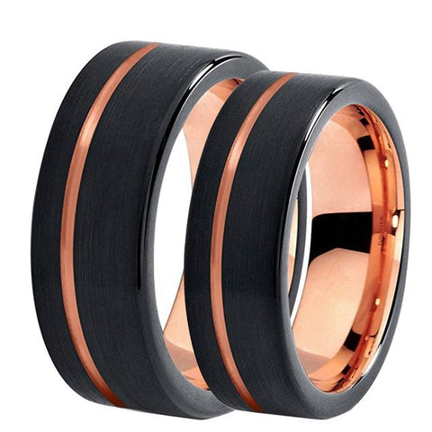 Off-Center Rose Gold & Black Pipe Cut Tungsten Ring Set