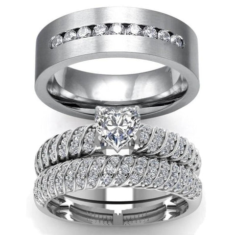 3PC Solitaire Micro Pave Stainless Ring Set
