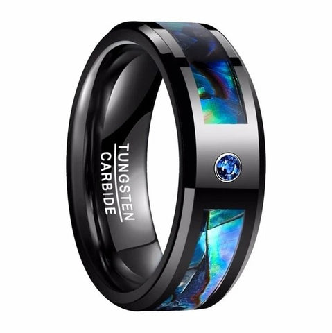 Black Tungsten Carbide Abalone Shell Inlay with Cubic Zirconia Wedding Band
