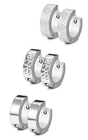 3 Sets Stainless Steel Hoop Earrings CZ