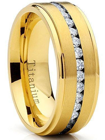 8mm Channel Pave Zirconia Gold Titanium Ring
