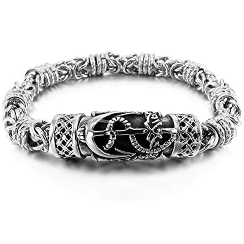 Stainless Steel Bracelet Celtic Cross Magnetic Clasp