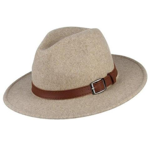 Faux Brown Leather Belt Felt Fedora Hat (7 Available Colors)