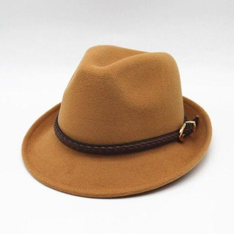 Braided Brown Leather Belt Felt Hat (9 Available Colors)