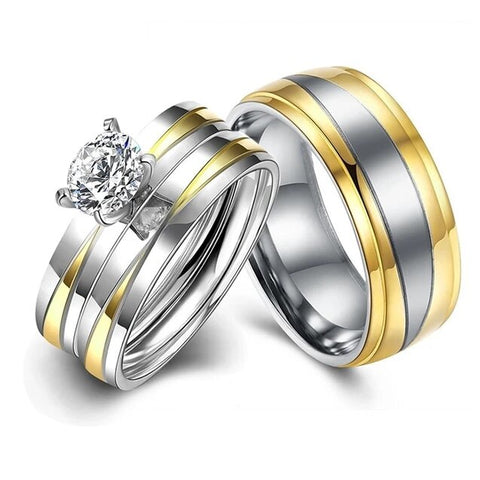 Two-Tone Tiffany Set Stainless Ring Set