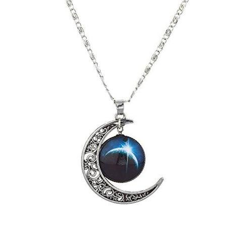 Silver-tone Cabochon Crescent Moon Charm Necklace