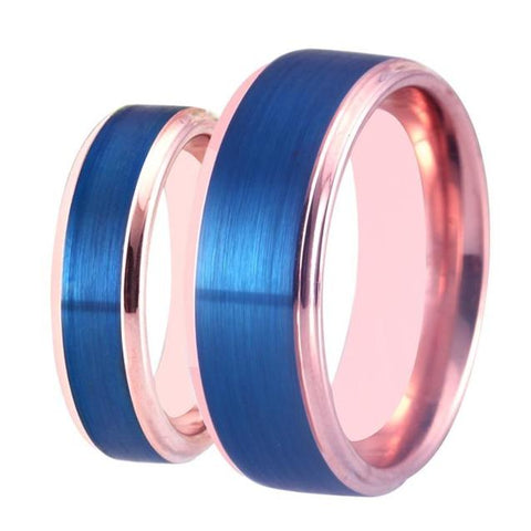 Blue & Rose Gold Tungsten Carbide Promise Ring Set