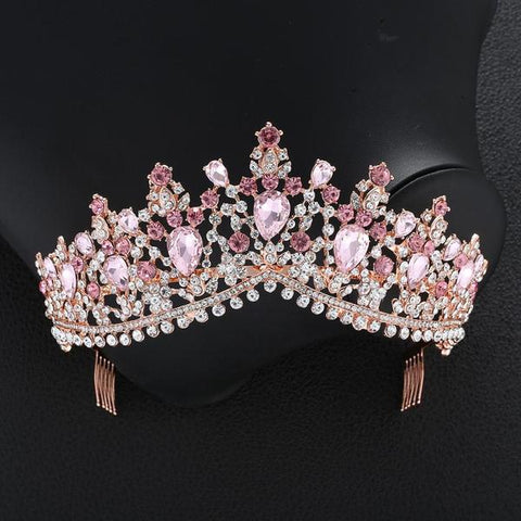 Luxury eight Color Tiara Crown with Zircon Crystals
