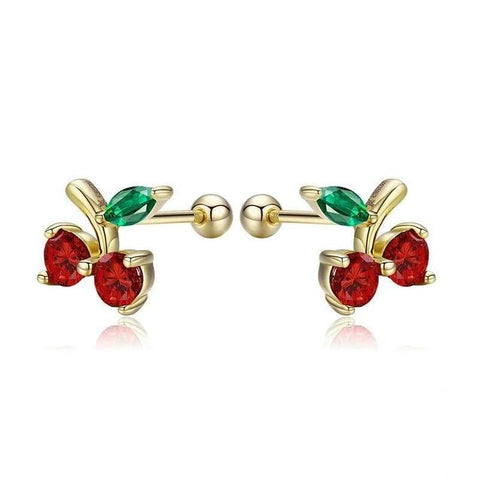 Gold Sterling Silver Red & Green Crystal Stud Korean Fashion Earrings