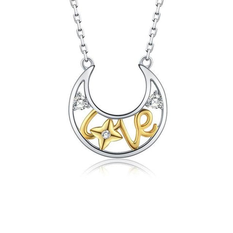 Crescent Moon Golden Love Crystal Sterling Silver Necklace
